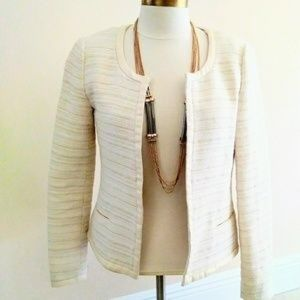 Banana Republic White Tweed Cotton Blazer